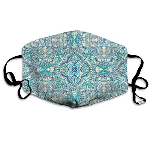 Blue Floral Tapestry (HUSDFS Mouth Masks Floral in Teal Cream and Blue PM 2.5 Cotton Face Mouth Mask Muffle Respirator Comfy Reuseable Dustproof Mouth Cover Warm Windproof Face Protective Guaze Mask)