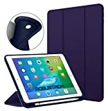 #6: Robustrion Smart Flexible Trifold Flip Stand Case Cover with Pencil Holder for New iPad 9.7 inch 2018/2017 6th/5th Generation - Blue