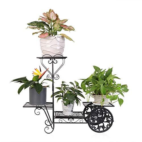 unho Blumenständer aus Metall Blumenregal Pflanzenregal mit 4 Ablagen für Balkon Wohnzimmer Restaurant Hotel Büro Garten Terrasse(Schwarz)