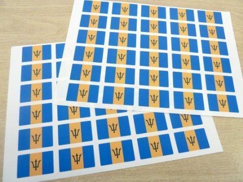 Pack de 60 , 33x20mm , Barbados autoadhesiva Pegatinas Bandera , Barbados autoadhesivo bandera Etiquetas