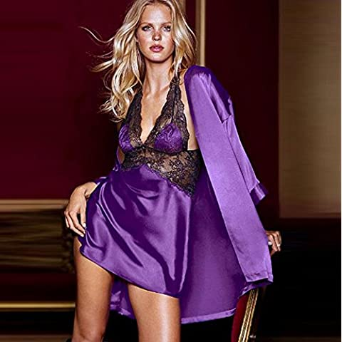 ZOYOL Seta lingerie sexy tre pezzi montati cinturino nightdressnightgown , purple , m