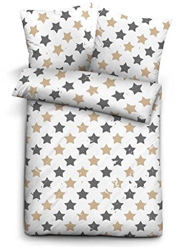 Biberna Biber Bettwäsche Trendline Sterne braun 135x200 cm + 80x80 cm