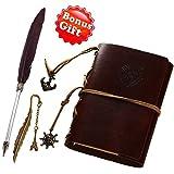 Tagebuch/Notizbucg mit Leder-Einband nachfüllbar mit speziellem Feder-Kugelschreiber und Lesezeichen, unliniert, handgefertigt, weiches, rustikales Leder, Vintage-Einband, Steam-Punk-Cover dunkelbraun
