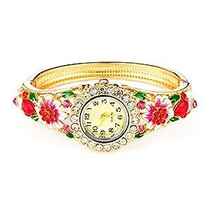 Tiaraz Fashion Luxury 18k Gold Plated Crystal Bangle Watch Stylish Bracelet for Girls and Women