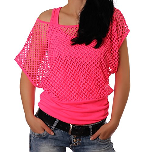 Crazy Age Frauen Partytop Sommertop Fasching Fest Karnelval Halloween Netzoberteil aktueller Trend in Neonfarben Sommerfarben Cool Sexy Tops Damenoberteile (S/M, Neonpink(AMA))