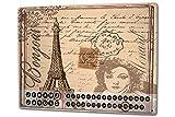 Perpetual Calendar Voyage Cuisine Tour Eiffel Paris métal