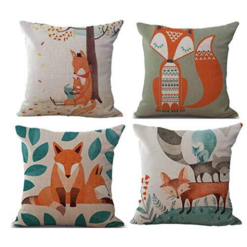 (Ears Happy Halloween 4PC Pillow Cases Linen Sofa Cushion Cover Home Decor (B))
