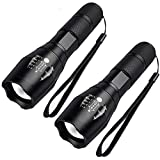 Mini Lampe Torche LED - FAGORY Lampe de Poche LED Torche Militaire Enfant, Zoomable, 5 Modes Intensité d'illumination Ajustable, Super Bright 1000 Lumens, Antichoc, Anti-dérapant [Lot de 2]
