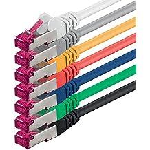2m - 7 colores - 7 piezas - CAT6a CAT 6a Ethernet LAN cable de red - SET   10 / 100 / 1000 / 10000 / Mbit / s   cable patch   CAT6   S-FTP   Doble blindado   PIMF   500MHz   libre de halógenos   compatible con CAT 5 / CAT 6a / CAT 7   para switch, router, módem, Patchpannel, punto de acceso
