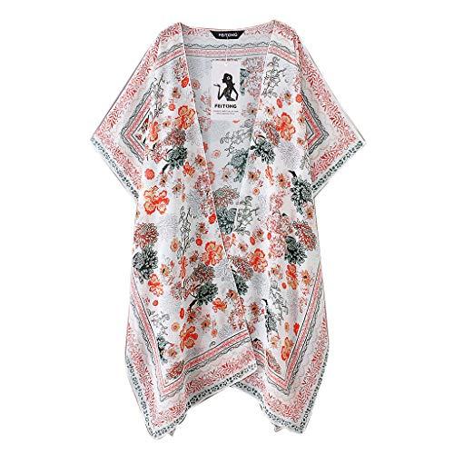 TIMEMEAN Top Bluse Beachwear Damen Bekleidung Chiffon Mode Schal Drucken Kimono Strickjacke