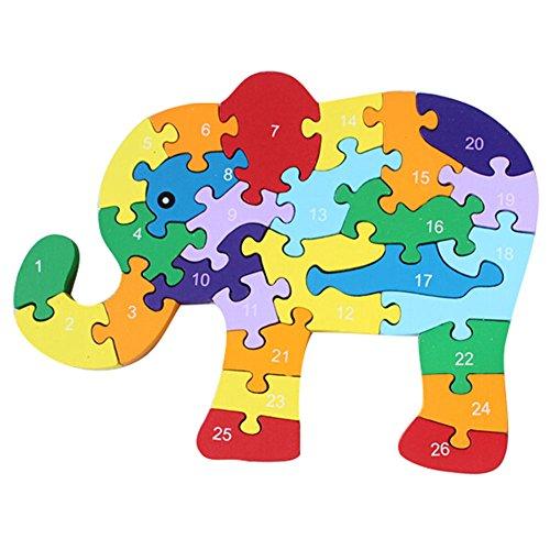 hibote Puzzle de madera 3D Jigsaw Puzzle - alfabeto y números Rompecabezas de elefante para niños Toddler