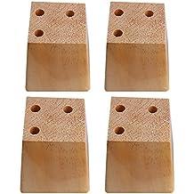 BQLZR - Patas de madera natural de pino trapezoidal para sofá, 3 agujeros, 4