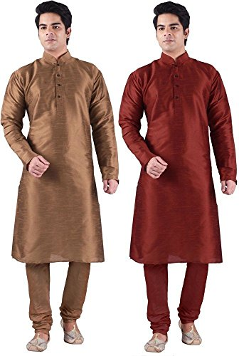 Royal Kurta Men' s Designer Silk Blend Kurta Churidar Set
