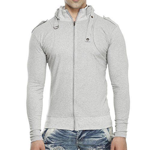 Tees-Collection-Mens-Full-Zip-Buckle-Neck-Full-Sleeve-Grey-Colour-T-shirt