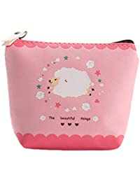 Qinlee Woman Lady Mini Coin Purse Zipper Wallet Key Holder Wallet Small Canvas Sheep Wallet Pouches Makeup Comestic...