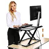 Edited Höhenverstellbar Steh-Sitz-Schreibtisch Computerschreibtisch Spieltisch, Schreibtischaufsatz Steharbeitsplatz Standtisch, 68 x 39 cm, Schwarz