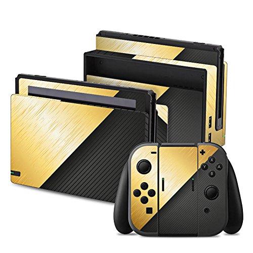 Design-schwarzes Finish Metall (Nintendo Switch Folie Skin Sticker aus Vinyl-Folie Aufkleber Metall Look Schwarz Gold)