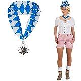 NET TOYS Trachten Halstuch Edelweiss Halsband Oktoberfest Halsschmuck Bayrische Halskette Bayern Hals Schmuck Dirndl Anhänger Kette Karnevalskostüme Accessoires Damen
