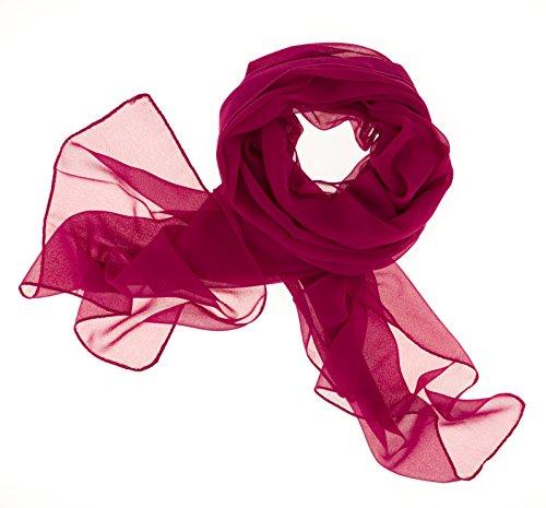 Dolce Abbraccio Damen Schal Stola Halstuch Tuch aus Chiffon für Frühling Sommer Ganzjährig Magenta Violett