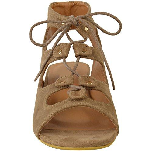 Nuovo Womens Ladies Tacco Basso Sandali Estivi Con Lacci Con Cinturino Da Festa Shoes Size 3-8 Mocha Marrone Camoscio Sintetico