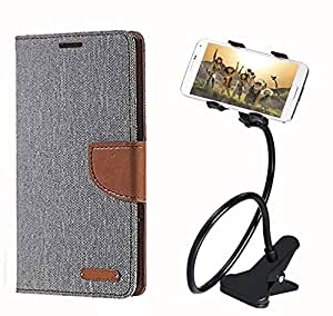 Aart Fancy Wallet Dairy Jeans Flip Case Cover for NokiaN520 (Grey) + 360 Rotating Bed Moblie Phone Holder Universal Car Holder Stand Lazy Bed Desktop by Aart store.