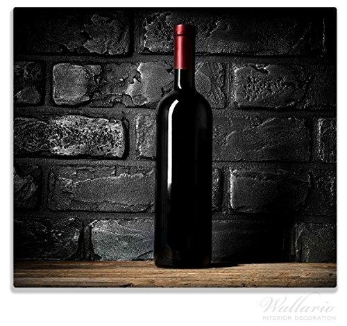 Trauben-wand-dekoration (Wallario Herdabdeckplatte / Spitzschutz aus Glas, 1-teilig, 60x52cm, für Ceran- und Induktionsherde, Rotwein-Flasche am Abend)