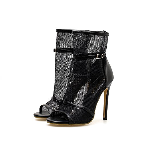 MKHDD Frauen Schwarz Fischernetz Stiefeletten Open Toe Stiletto High Heel Hohl Sexy Cool Boots Atmungsaktives Mesh Knöchelriemen Schnalle,Black,40 Sexy Open Toe Schwarz