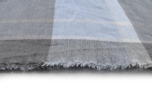 """La Loria XXL Echarpe d'hiver pour femme """"Life"""" Châle frangé Mouchoir Foulard écharpe à carreaux - serviette triangulaire bleu clair-gris clair-blanc"""
