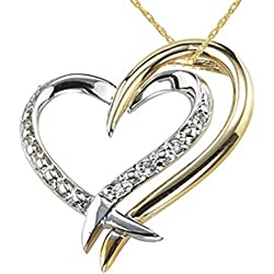 Real Silver Golden and Silver Heart Pendant with high quality American diamonds for girls and women With silver Chain