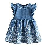 Longra Mädchen Jeanskleid Kleinkind Kinder Baby Mädchen Kleidung Blume Stickerei Denim Kleid Blau Prinzessin Kleider Mädchen Kurzarm Sommerkleider mit Volant