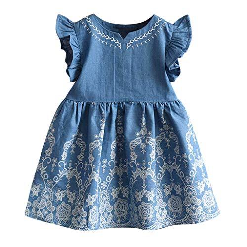 Kleinkind Mädchen Kleider Sunday Kinder Baby Mädchen Kleidung Sommerkleider Stickerei Denim Kleid Party Prinzessin Kleid Strandkleidung
