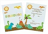 """Cartissimi 18-teiliges Dino Einladungskarten Set mit Briefumschlägen und Aufkleber """"Gino Dino"""""""