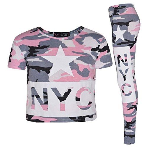 A2Z 4 Kids® Mädchen Top Kinder NYC Camouflage Aufdruck - NYC Camo Set Baby Pink 11-12 (Baby Mädchen Legging-sätzen)