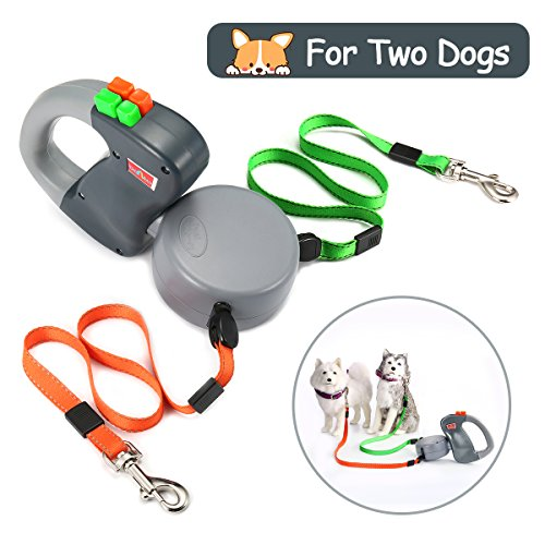 Focuspet Dog Leash 2 Dogs Retractable, Extendable Double Dog Leash No Tangle Automatic Dual Pet Dog Lead Leash 10 Feet…