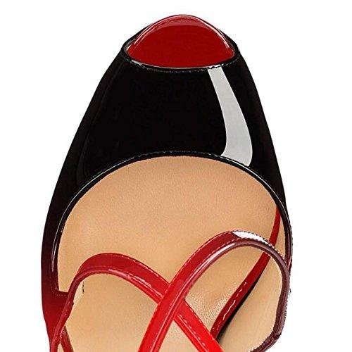 L@YC Femmes Dames Stiletto Talon Haut à Peine Là Double Sangle Boucle Partie Sandales Chaussures Taille red