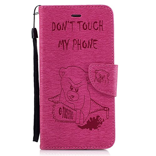 """MOONCASE iPhone 6 Plus/6s Plus Coque, [Impression Ours] Coque Portefeuille [Card Slot] Housse en Cuir Case à rabat avec Béquille pour iPhone 6 Plus/iPhone 6s Plus 5.5"""" HotPink HotPink"""