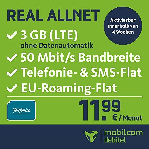 mobilcom-debitel Real Allnet im Telefonica Netz (11,99 EUR monatlich, 24 Monate Laufzeit, Telefonie-Flat in alle deutschen Netze, 3GB Internet Flat, LTE mit max. 50 MBit/s, Triple-Sim-Karten)