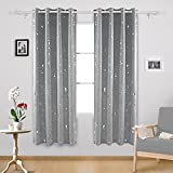 Deconovo Eyelet Curtains Ready Made Silver Dots Foil Printed Thermal Insulated Blackout Curtains for Livingroom 46 x 72 Inch Light Gray One Pair