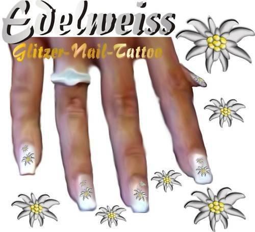 Preisvergleich Produktbild Nail Tattoo Edelweiss metalic-funkelnd