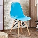 Lux Furn Moderner Esszimmerstuhl Kunststoff Holz Retro Esszimmerstühle modernes Design Stühle in Weiß Schwarz Grau Rot Gelb Pink Grün Blau 2er-Set blau