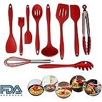 10 Pezzi da Cucina Utensile da Cucina in Silicone Set di Silicone Antiaderente Atossico Set (Facile Loop Turner)