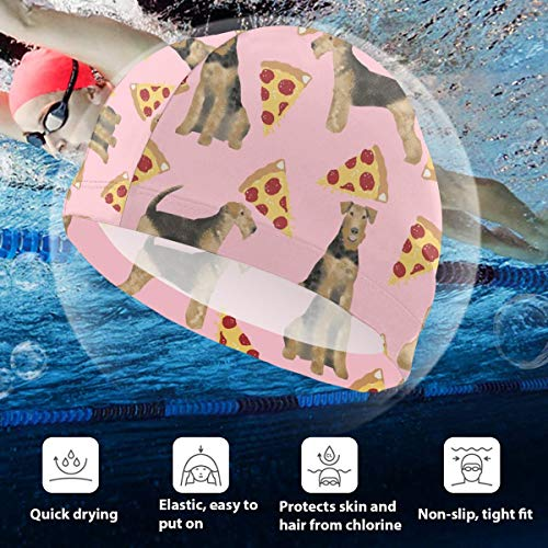 BigHappyShop Kids Swimming Cap Airedale Terrier Dog Cute Dogs Food Funny Pizza Silicone Waterproof Swim Cap Bathing Hair Quick Drying for Kids