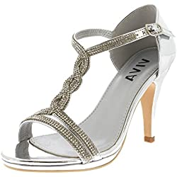 Viva mujer diamante T-Bar medio talón boda fiesta metálico sandalias - Plata KL0312B