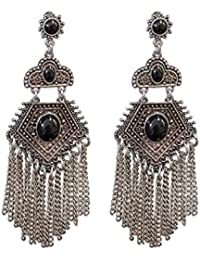 Young & Forever Tribal Muse Collection Oxidized Silver Plated Drop & Danglers Earrings For Girls / Women E599