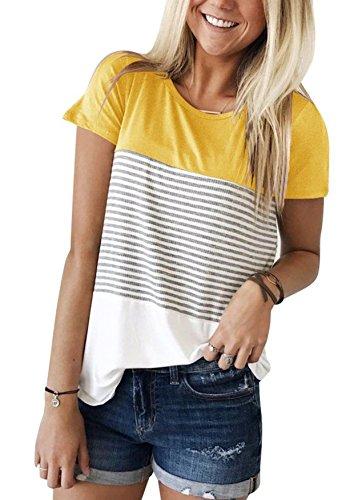 Ehpow Damen Sommer T-Shirt Casual Streifen Patchwork Kurzarm Oberteil Tops Bluse Shirt (Small, Gelb)
