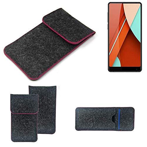 K-S-Trade® Filz Schutz Hülle Für Bluboo D5 Pro Schutzhülle Filztasche Pouch Tasche Case Sleeve Handyhülle Filzhülle Dunkelgrau Rosa Rand