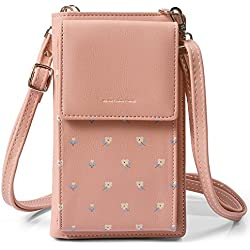 HMILYDYK Girls Cross Body Bag Mini bolso de cuero floral Mobil Phone Monedero titular de la tarjeta Mini monedero