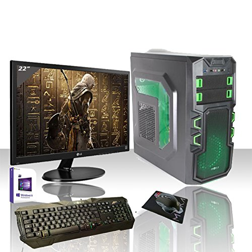 PC Desktop Intel Quad Core con licencia Windows 10 Professional 64 original Bi/Wifi/HD 1TB SATA III/RAM 8 GB 1600 MHz/hdmi-dvi-vga/USB 2.0 3.0/monitor 22 LED HD Samsung VGA/Teclado y Ratón Gaming PC fijo completo Pronto al uso Giochi, Oficina Saturn cg-p0