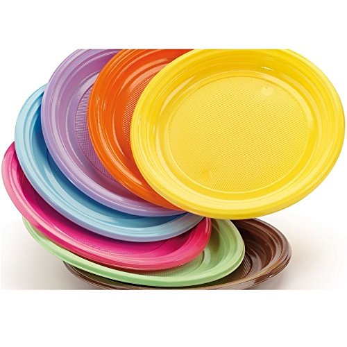 Assiettes en plastique dur de couleur DoPla 30 Pièces-Pourpre