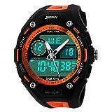 XLORDX SKMEI Digital Armbanduhr LED Sportuhr Stoppuhr Wecker Wasserdicht Quarzuhr Taschenuhren Orange
